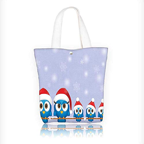 Canvas Tote Bag Bird Family with Santa Hats on Electricity Wire Winter Holiday Hanbag Women Shoulder Bag Fashion Tote Bag W16.5xH14xD7 INCH