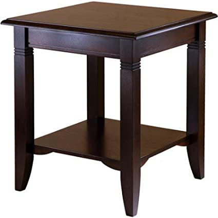 Ordinaire End Table, Cappuccino Color, Accent Table Made Of Solid WOod Construction,  Storage Shelf