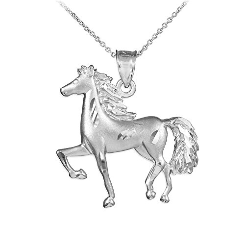 Animal Kingdom 925 Sterling Silver Satin Finish Horse Charm Pendant Necklace, 16