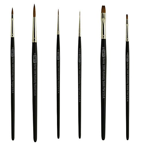 ZEM BRUSH Kolinsky Pure Sable Artist Brush Set Cats 2, Flat 2, 6, Round 5, Liner 10/0, Detail 0 (Pure Kolinsky Sable Watercolor Brushes)