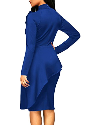 Dokotoo Womens Plus Size Ladies Fall Winter High Neck Long Sleeve Ruffle Peplum Knee Length Bodycon Midi Pencil Cocktail Dresses For Work Blue XX-Large