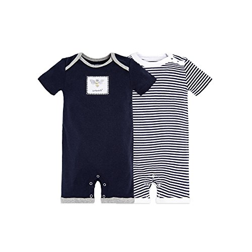 Burt's Bees Baby Baby Boys' Short Sleeve Rompers 2-Pack, 100% Organic Cotton One-Piece Coverall, Midnight Honey Bee, 3-6 Months