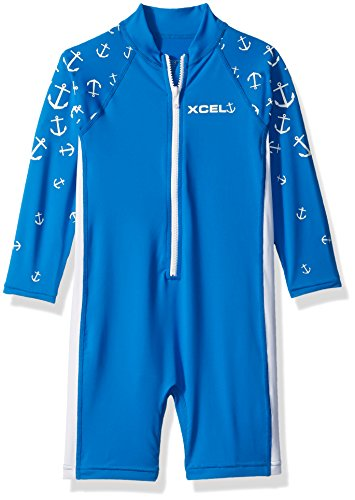 Xcel Toddler Kaihoku Long Sleeve UV Spring Wetsuit, Blue Aster/White, (Aster Suit)
