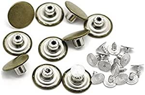 10 Metal Buttons Suspenders Replacement Instant for Clothes Jeans Pants w//Nails