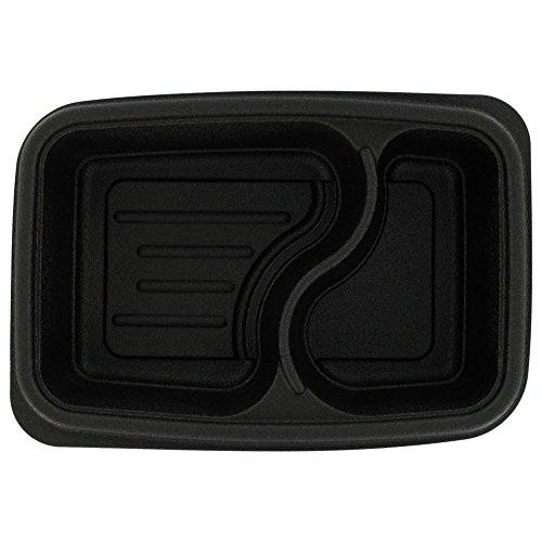 Genpak FPR232 Black 32 Oz. 2-Compartment Container - 300 / CS by Walco Organization