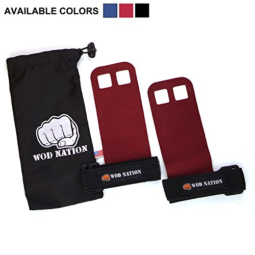 Leather Gymnastics Hand Grips by WOD Nation - Fits Men & Women - Red - Small (Red Leather Grip)