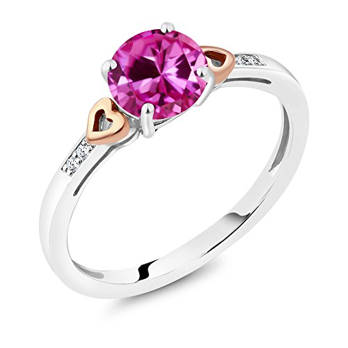 925 Sterling Silver and 10K Rose Gold Ring Round Pink Created Sapphire with Diamond Accent (1.67 cttw, Available in size 5,6,7,8,9)