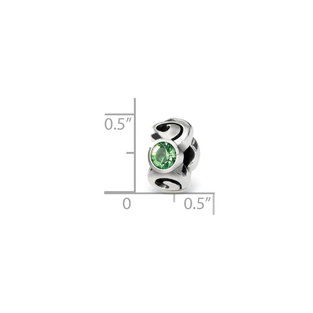 The Black Bow Sterling Silver August Crystal Simulated Birthstone 3-Stone Bead Charm