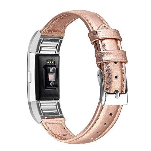 (bayite Bands Compatible Fitbit Charge 2, Slim Genuine Leather Band Replacement Accessories Strap Charge2 Women Men, Rose Gold)