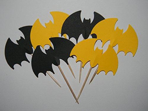 Set of 24 bat batman inspired cupcake toppers birthday halloween party (Halloween Inspired Cupcakes)