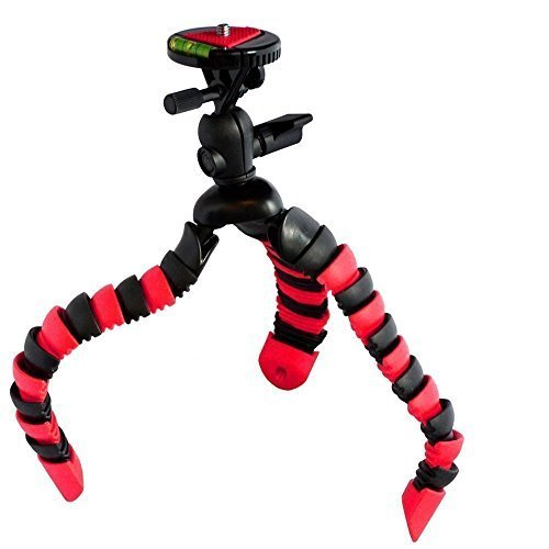 Flexible Tripod w/ Quick Release Plate Bubble Level For Canon, Fuji, Fujifilm, Nikon, Panasonic, Pentax, Olympus, Samsung, Sony Compact System and Action Digital Camera Camcorder (Red/Black)