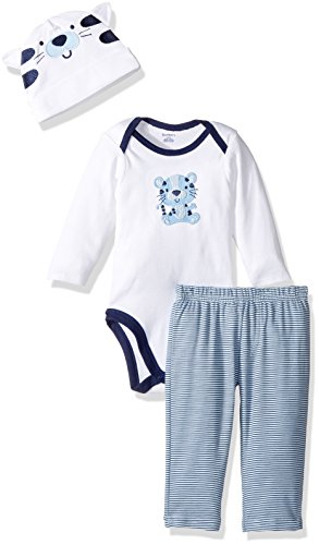 Tiger Outfit (Gerber Baby 3 Piece Bodysuit, Cap and Pant Set, white tiger, 12 Months)