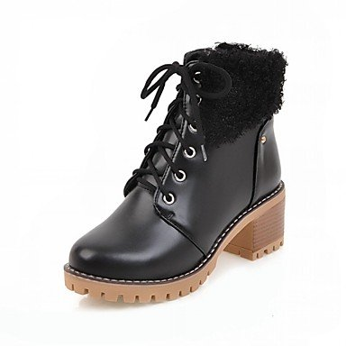 Gll Boots Polka Career amp;xuezi Winter Leatherette Dot Casual Walking Shoes Black Novelty Comfort Brown Combat Office Spring Heel Boots amp; Women's Chunky BZBarYnqF