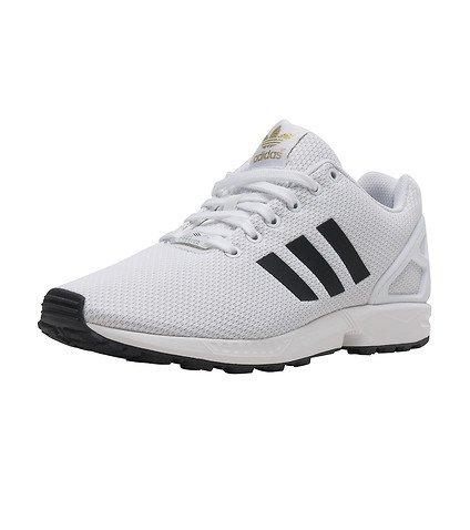 best website b5111 ca612 adidas Men's ZX Flux White/Black/Gold Metallic Running Shoes BA8655 10