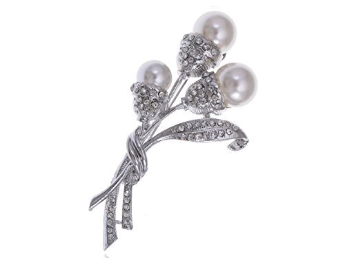 Alilang Faux Pearl Bead Flower Bud Bouquet Crystal Rhinestones Bridal Fashion Pin Brooch