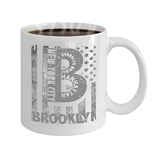 Funny Gifts for Halloween Party Gift Coffee Mug Tea new york city brooklyn stylized american flag -