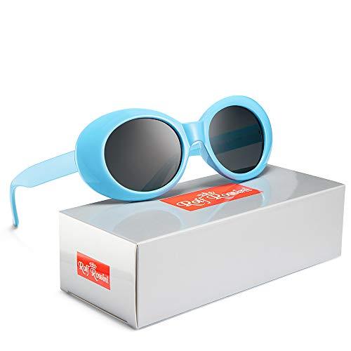 Clout Goggles Women Oval Sunglasses Kurt Cobain Sun Glasses Round Retro Shades for Men UV400 Protective Candy Color (Blue/Gray)