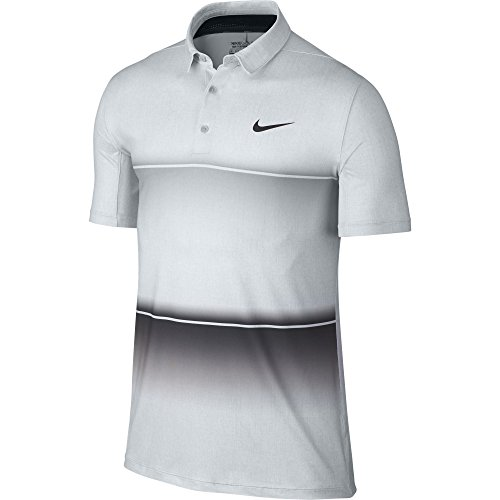 Nike Golf Men's Mobility Stripe Polo Wolf Grey/Pure Platinum/Anthracite Polo Shirt (Platinum Golf Shirt)