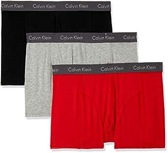 Calvin Klein Men's Elements Trunk, Black/Grey Heather/Red Heat, S