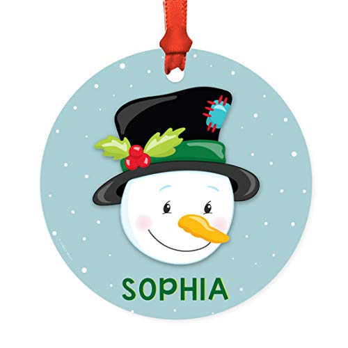 Andaz Press Personalized Round Metal Christmas Ornament, Christmas Snowman with Holly on Black Hat, 1-Pack, Custom Child's Birthday Christmas Xmas Tree Decorations