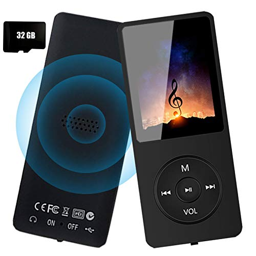 MP3 Player - 32GB MP3 Music Player with Voice Recorder and FM Radio, Hi-Fi Sound Potable Audio Player Build-in Speaker, with Video, Text Reading and Support up to 128GB, Dark Black