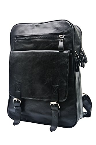 - Vintage PU Leather Backpack Travel Daypack Fashion Rucksack for Men Fit 13 inch Laptop Computer Notebook (Black)