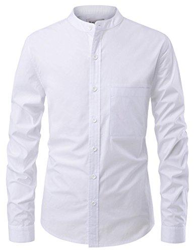 NEARKIN Mens Longsleeve Mandarin China Collar Button Down Casual Shirts