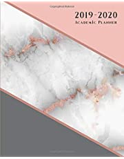 Academic Planner: Weekly and Monthly | Agenda Organizer Diary Calendar | HORIZONTAL Layout - Rose Gold Pink Marble (2019-2020)