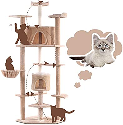 Spacious Kittens Pet Play House Furniture for Scratching Sleeping Jumping Climbing Tangkula Cat Tree 2 Levels Cat Activity Tree with 2 Cozy Plush Condos /& Platform /& Scratching Posts