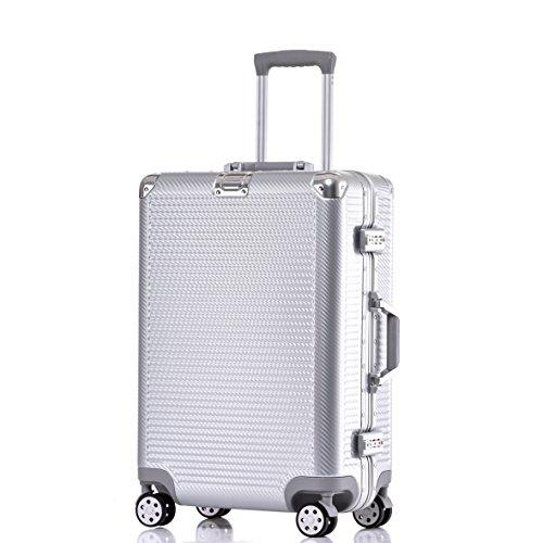 Carry On Luggage, Aluminum Frame Hardshell Durable PC Spinner Suitcase TSA Approved 20 Inch - Aluminum Travel Case
