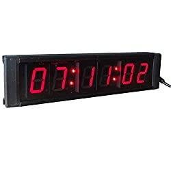 AZOOU 1 6 Digits LED Wall Clock LED Digital Timer Countdown and up By Ir Remote Control Red Color