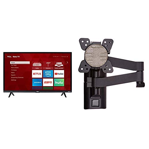 TCL 32S327 32-Inch 1080p Roku Smart LED TV (2018 Model) & AmazonBasics Heavy-Duty, Full Motion Articulating TV Wall Mount for 12-inch to 39-inch LED, LCD, Flat Screen TVs