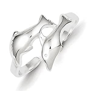 Lex & Lu Sterling Silver Dolphin Toe Ring LAL22987
