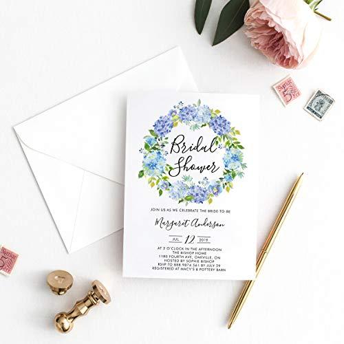 Hydrangea Bridal Shower Invitations - Dozili Bridal Shower Invitation Watercolor Blue Hydrangeas Wreath Bridal Shower Invitation Editable Invitation