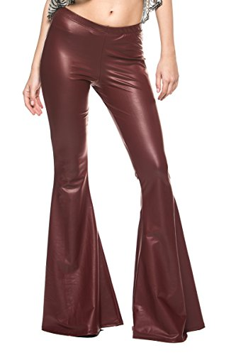 Women's Vintage 70s Glam Rock and Roll Indie Wide Leg Flared Bell Bottom Pants (Small, Burgundy Faux Leather) for $<!--$33.98-->