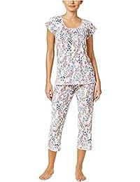 Womens Crinkle Printed Knit Pajama Set