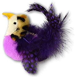 Our Pets Realbird Purple Cat Toy with Catnip and Real Bird Sounds
