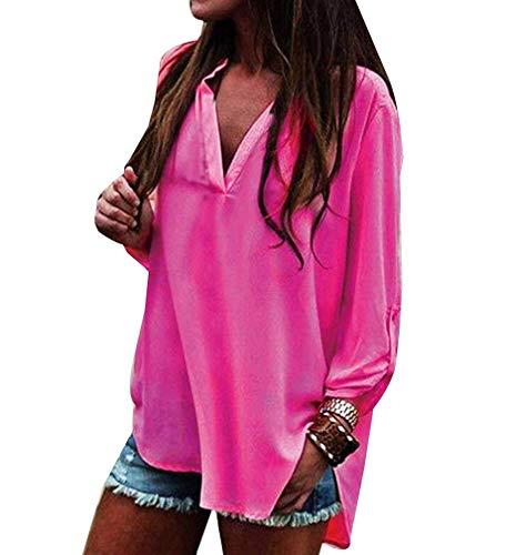 Button Chic Camicie Neck Eleganti Rose Shirt Ragazza Monocromo Donna Baggy Casual V Irregular Bluse Tops Primaverile Moda Lunga Manica Ovq88B