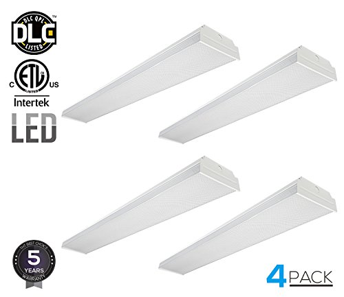 LEONLITE 4ft 40W LED Garage Shop Light Wraparound Flush Mount Ceiling Light, 100W Equiv. Ultra Bright 4000lm, Daylight 5000K for Laundry Rooms, Hallways, Offices, Workbenches, Pack of 4 by LEONLITE