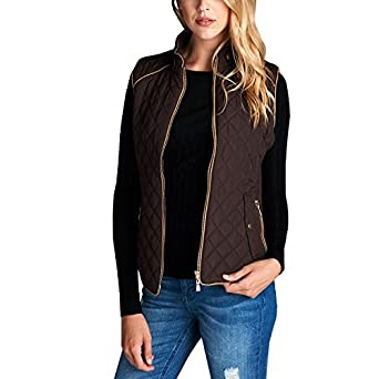 Fashionazzle Women's Lightweight Suede Contrast Quilted Zip Up Vest Jacket WCVACT160140907