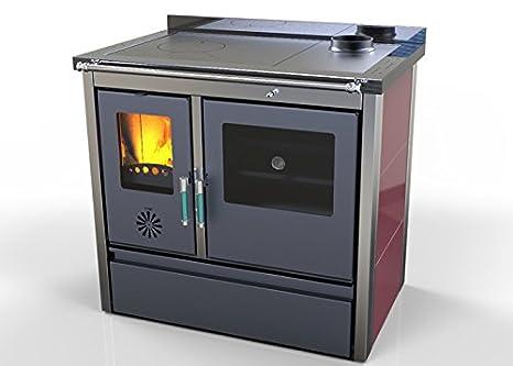 Hosseven, estufa de cocina de leña LOTUS con horno hierro fundido 11 kW, bio eficiencia clase energética A+ eco calefacción y bioclimatismo sostenible: ...