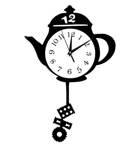 Creative Kitchen Clocks Teapot Pendulum Wall Clock Hanging Wall Mounted Watches Modern Design Teapot with Tea Bag Cookie