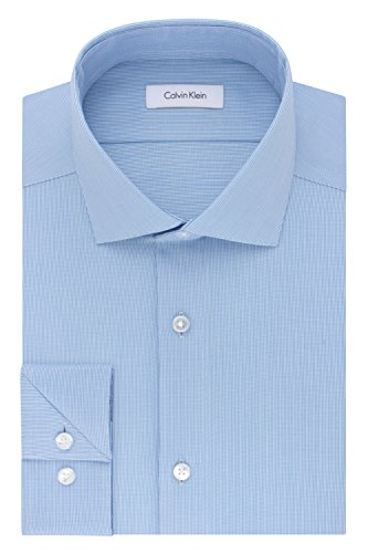 - Calvin Klein Men's Dress Shirt Slim Fit Non Iron Stretch Solid, French Blue, 16