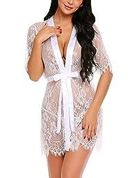 916e022d07a91 Women s Lace Kimono Robe Babydoll Lingerie Mesh Nightgown