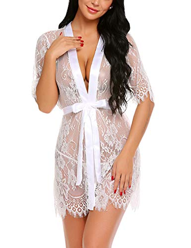 Avidlove Beach Cover up Swim Suit Covers Women Kimono Robe Floral Lace Babydoll Lingerie Sheer Mesh Nightgown White M ()