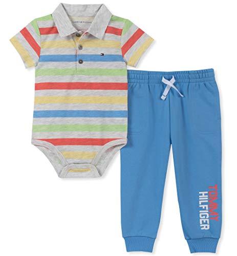 (Tommy Hilfiger Baby Boys 2 Pieces Bodysuit Pants Set, Gray Stripes/Blue 3-6 Months)