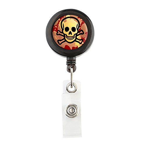 translucent-retractable-badge-holder-reel-key-chain-reel-for-key-cards-and-id-cards-skull-bone-black