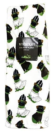 Witchcraft Festive Halloween Themed Holiday Decorative Luxe Plush Throw Blanket 50 x 60 (Frankenstein Pugs) ()