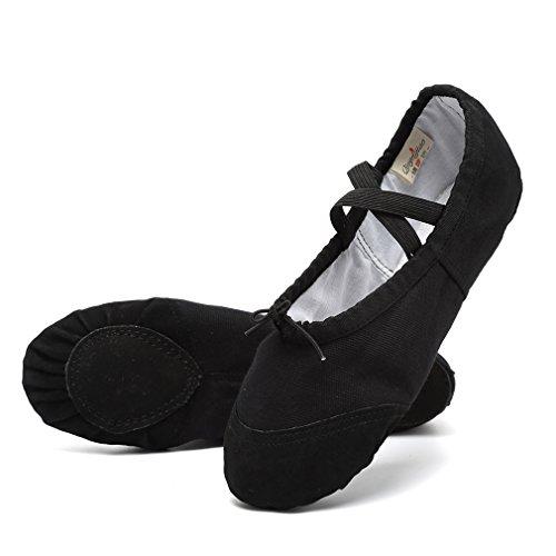 KEESKY Women's Canvas Ballet Shoes – Split Sole Slippers Dance Shoes Black Women Size 7.5