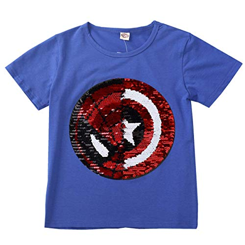 Frontiersman Girls Boys Children Reversible Sequins T-Shirt Magic Short Sleeve (130, Blue) -